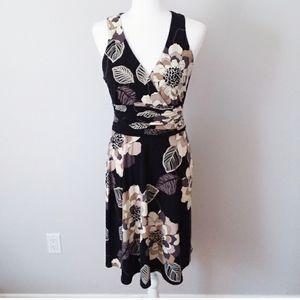 Evan Picone Black with Cream / Tan Floral Dress